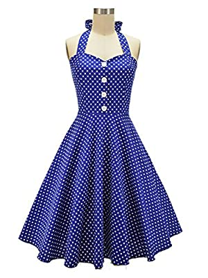 HongyuTing Women's 50s Vintage Halter Polka Dot Rockabilly Picnic Party Dress