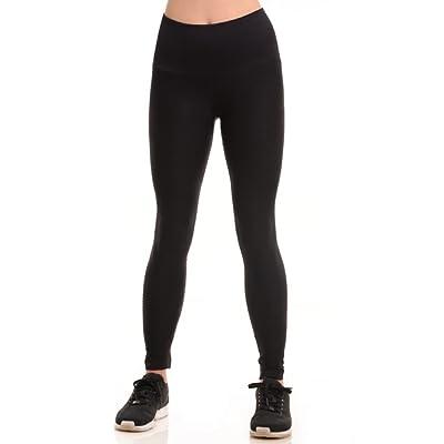 BLACKASHMERE Women's Black Moto Style Performance Compression Leggings