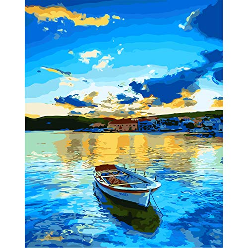 CHARMDI Paint by Number Kits,DIY Oil Painting Canvas Painting by Numbers for Kids, Adults,Students,Beginner,Arts Craft for Home Wall Decor Gift 16X20 Inch (Village and Boat)