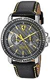 Ferrari Men's Turbo Stainless Steel Quartz Watch with Leather Strap, Black, 22 (Model: 830450)