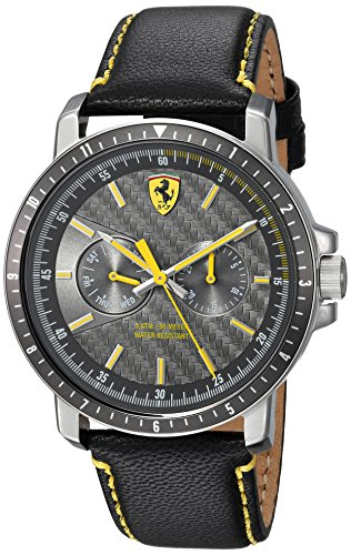 Ferrari-Mens-TURBO-Quartz-Stainless-Steel-and-Leather-Casual-Watch-ColorBlack-Model-830450