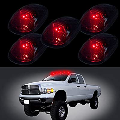 cciyu 5 Pack Smoke Cab Roof Marker Clearance Covers w/Red T10 168 184 W5W 5050 SMD Side Wedge LED Light Lamps Replacement fit for 1999-2002 Dodge Ram 2500 3500 4500: Automotive