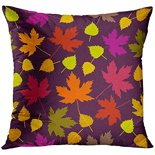 - Throw Pillow Cover Green Autumn Fall Pattern with White Birch and Maple Leaves 1950S 1960S Motifs Retro Collection on Purple Red Decorative Pillow Case Home Decor Square 18x18 Inches Pillowcase