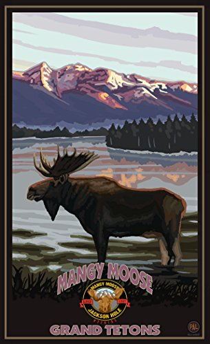 Northwest Art Mall PAL-6457 MIL Mangy Moose Jackson Hole Wyoming Moose In Lake 11x17 Print by Artist Paul A. - Malls In Jackson