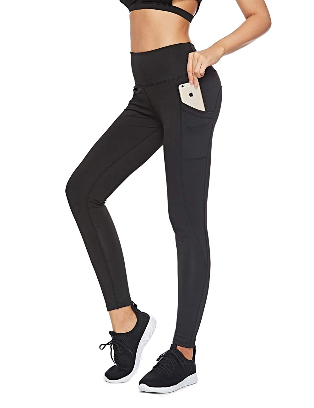 Black SXT High Waist Out Pocket Yoga Pants Tummy Control Workout Running Compression Scrunch Butt Leggings