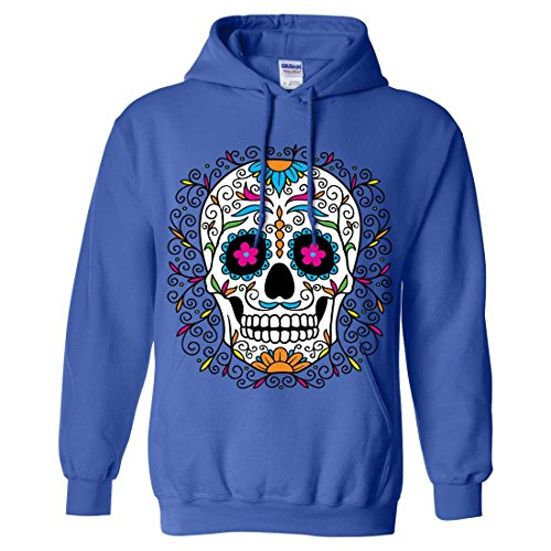 Dia De Los Muertos Pastel Sugar Skull Sweatshirt Hoodie - Royal Medium]()