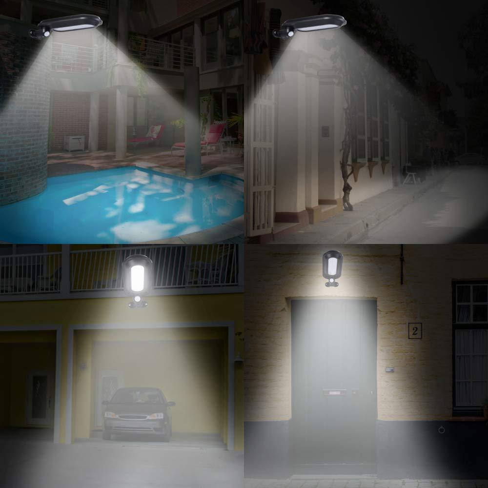 White Light, Pack of 2 KASUN 18 LED Security Light Waterproof Fence Lamps with PIR Motion Sensor 4 Lighting Mode for Garage Deck Garden Wall Gutter Outdoor Solar Lights