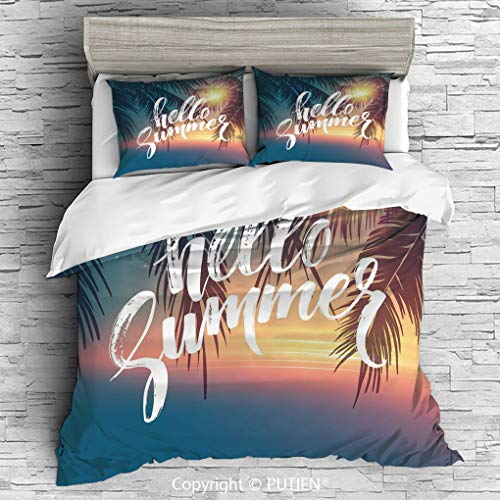 FULL Size Cute 3 Piece Duvet Cover Sets Bedding Set Collection [ Palm Tree,Hello Summer Design a Tropic Paradise Beach and the Sunshine Pattern Print,Blue and Orange ] Comforter Cover Set for Kids Gir