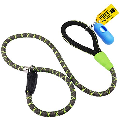 morpilot Hundeleine, Retrieverleine Hundeleine Nylon Slip Lead für Hunde, Trainingsleine Verstellbares Seil mit Weichem Griff, Große Mittel Kleine Hundeleine (Größe S M L) + Müllsack