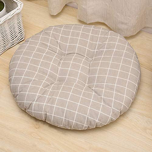 Khaki Lattice - Chair Cushion, Cotton and Linen Fabric Lightweight Easy to Clean Soft Thickening Office Simple Geometry Decor Home Space Saving Printed Round Durable Seat(Khaki Lattice)