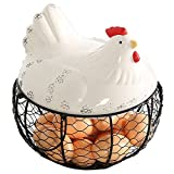 #7: Black Metal Mesh Wire Egg Storage Basket with White Ceramic Farm Chicken Top and Handles