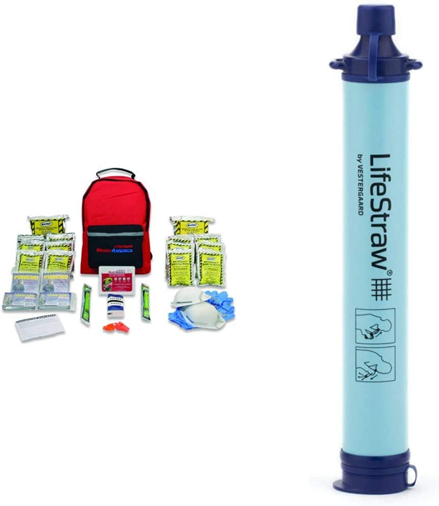 Ready America 70280 Emergency Kit, 2-Person, 3-Day Backpack & LifeStraw Personal Water Filter for Hiking, Camping, Travel, and Emergency Preparedness, 1 Pack, Blue