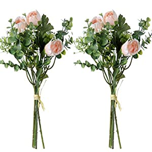 UUPP 2 Pcs Artificial Rose Baby Breath Flowers with Eucalyptus Leaves Bridal Wedding Bouquet for Home Garden Party Wedding Decoration, 13.8 inches 10