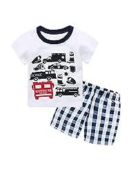 Captain Meow Boys' Short Sleeve Clothing Set T-shirt And Short Pants Automobile