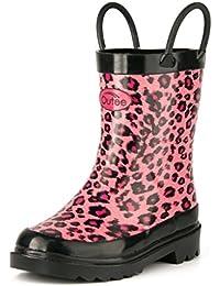 Toddler Kids Rain Boots Rubber Waterproof Shoes Cute...