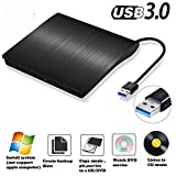 External DVD CD Drive USB3.0 Portable Slim External DVD Drive Windows 8.1/10 CompatibleDVD CD+/-RW ROM Rewriter Burner Drive Player for Apple Mac, Mac Pro, Mac Air and Other Laptops
