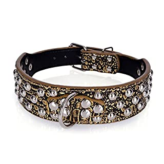 Rachel Pet Products 3 Rows Silver Rivets Studded Genuine Leather Dog Collars for Medium/Large Dogs, Gold Brown, S