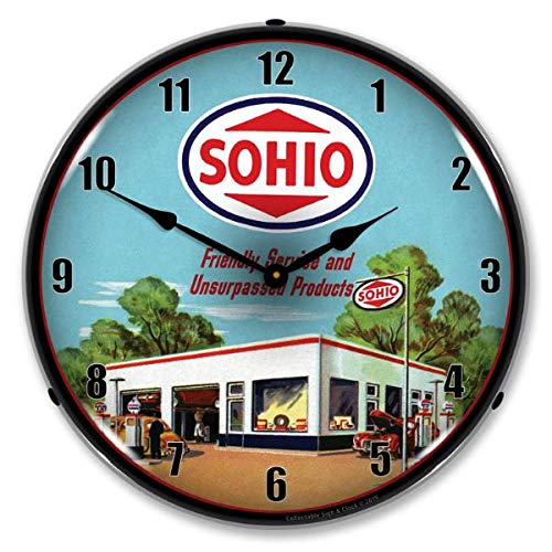 The Finest Website Inc. New L.E.D. SOHIO Gas Station - Retro Vintage Style Advertising LED Lighted Clock - Ships Free Next Business Day to Lower 48 U.S. States