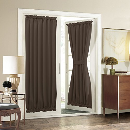 Aquazolax Thermal Insulated French Door Curtain Panels 54x72-Inch Patio Glass Door Coverings Solid Blackout Window Treatments Curtains Privacy - 2 Panels, Toffee Brown
