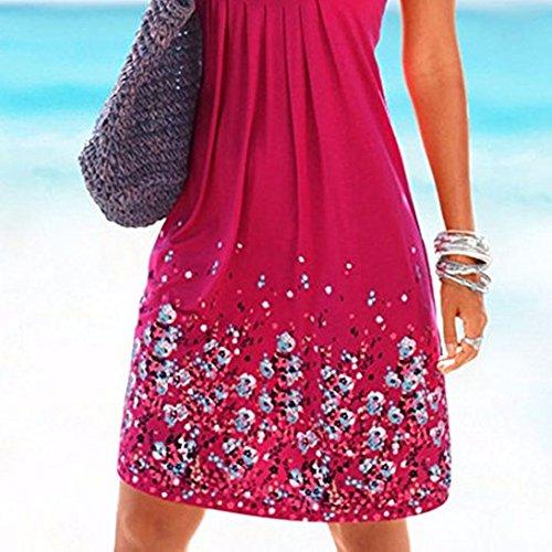 Koobea Robes Maxi D'été Des Femmes Imprimé Floral Manches Plissée Sundress Robes De Plage D'une Ligne Casual Rose Lâche Rouge