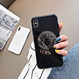 Luxury Stylish Designer Fashion Soft Silicone Case Cover for iPhone 6 6S 7 8 Plus X XS XS Max XR (Black, iPhone Xs Max)