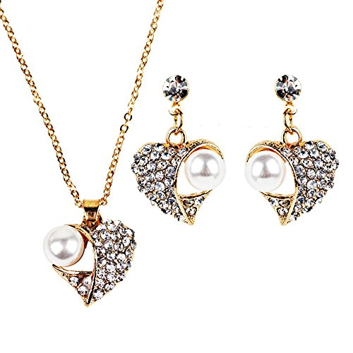 Clearance Deal! Hot Sale! Earring, Fitfulvan Women's Elegant Vintage Heart-shaped Necklace Statement Earrings Jewelry Set (Woven Crystal Beaded Ring)