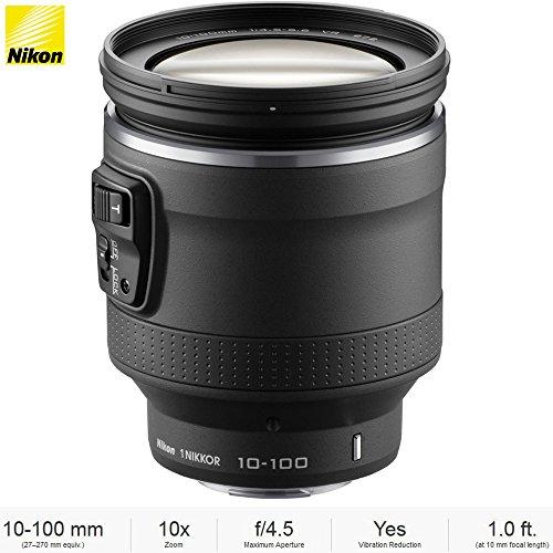 Nikon (3318 1 NIKKOR 10-100mm f/4.5-5.6 VR (Black) Lens for CX format - (Certified Refurbished) ()