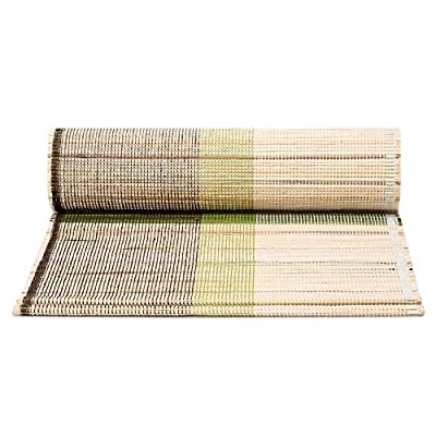 ShalinIndia Hand Woven Eco Home Banana Bark And River Grass Cross Small Table Runner 13x45 Inch-Kitchen Dining Home Décor-With A Cloth Bag,Green