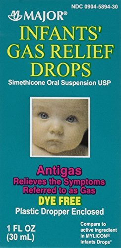Newborns, Infants & Children Gas Relief Simethicone 20 mg/0.3ml Drops Dye Free Generic for Mylicon 1 oz (30ML) Total 2 oz by Major Pharmaceuticals