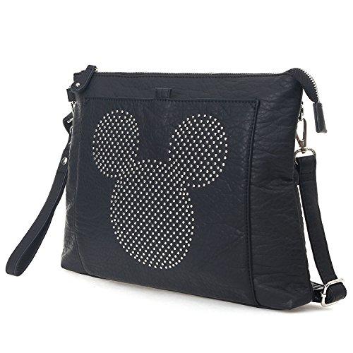 Mickey Shoulder Rhinestone Disney Ililily Bag Black Shape Mini Crossbody Mouse A5q6w
