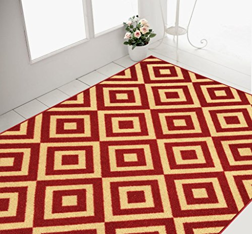 5x7 area rugs amazon kohls ikea rubber backed trellis squares red beige non slip rug collection
