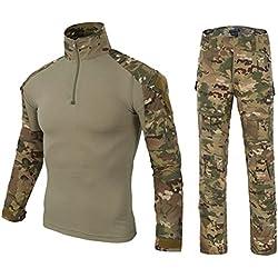 DXdesign Tactical 1/4 Zip Combat Long Sleeve T-Shirt Pants Set Slim Fit Hunting Military Uniform Dry Quick (XX-Large, Desert Multicam Set)