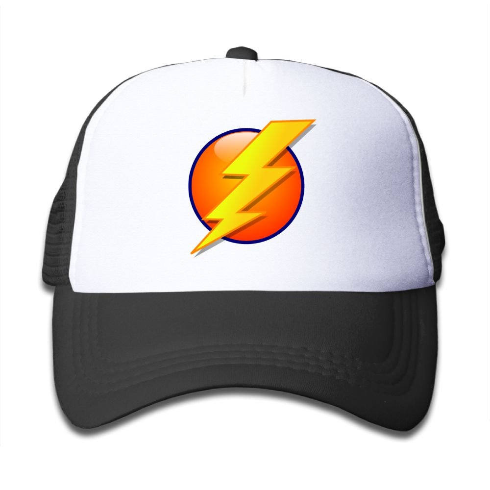 Oiir Ooiip Fired Golden Lightning Bolt and Sun Boys-Girls Mesh Caps Kid's Trucker Hat