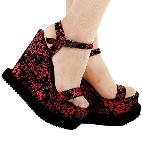 Mostrar historia Retro negro ciruela roja flor tiras cuña sandalias de plataforma, LF38824 Negro y rojo