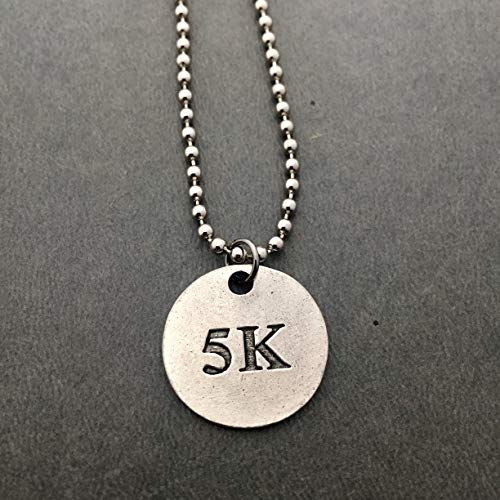 5K Round Pewter Pendant Necklace/Bracelet/Key Chain/Bag Tag - Round Pewter 5K Pendant on 24 inch Stainless Steel Ball Chain