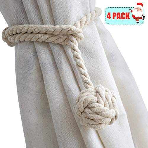 Curtain Rope Back Tie - Yacolife 4 Pack Curtain Tiebacks,Handmade Natural Cotton Curtain Rope Tieback,Decorative Rope Holdbacks/Holder for Window Sheer and Blackout Panels,Beige