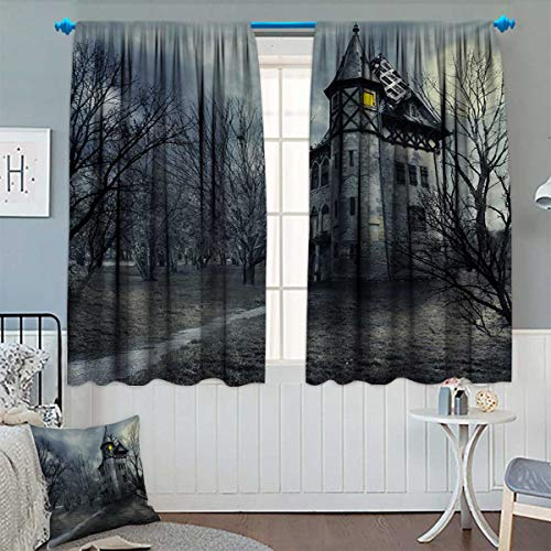 Anhounine Halloween,Blackout Curtain,Halloween Design with Gothic Haunted House