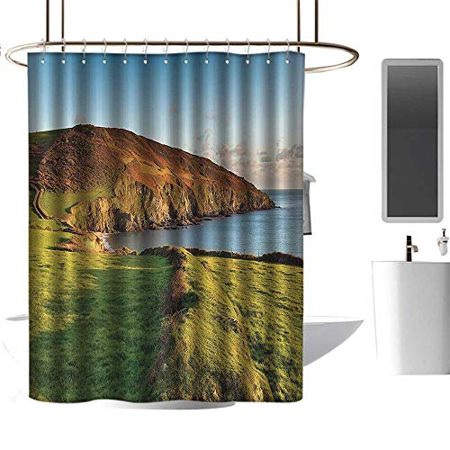 (Marilds Shower Curtain with Hooks Seaside Decor Collection The South West Coast Path as It Passes Hemmick Beach from Gorran Haven Cliffs Picture W48 xL84)
