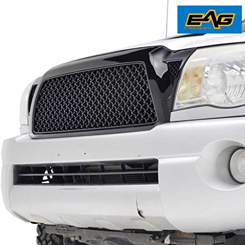 (EAG Replacement Upper Grille ABS Black Mesh Front Hood Grill Fit for 05-11 Toyota Tacoma)