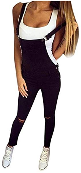O.AMBW Bibs de Mujer Clásico Retro Bodycon Jeans Ajustados ...