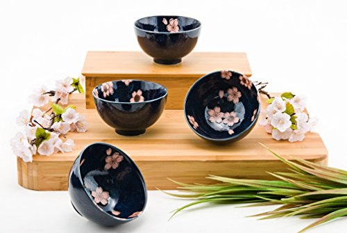 Blossom Rice Bowl - Japanese Traditional Ceramic Rice Bowl Set of 4 Pink Cherry Blossom Sakura Gift Pack Imported From Japan