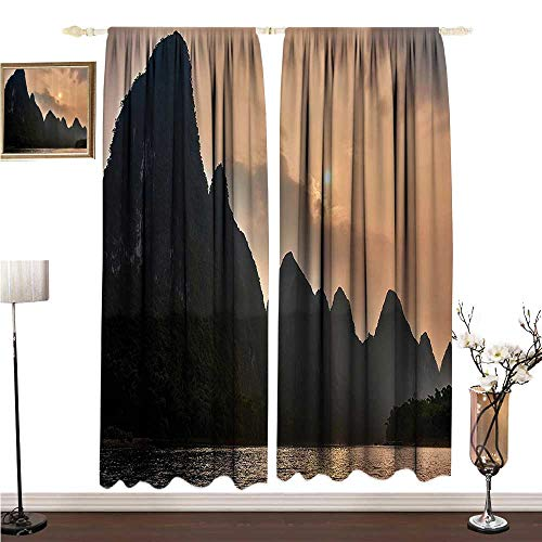 Anshesix Kids Room Curtains Lake House Decor Collection Li River Between Guilin and Yangshuo in Guangxi Province China Summer Panorama Image W108 xL96 Environmental ()