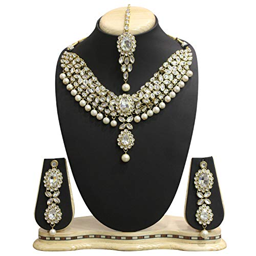 Aheli Kundan Jewelry Set Choker Maang tikka Necklace Set(White) and Pearl Tassel Jewelry for Women Girls by aheli