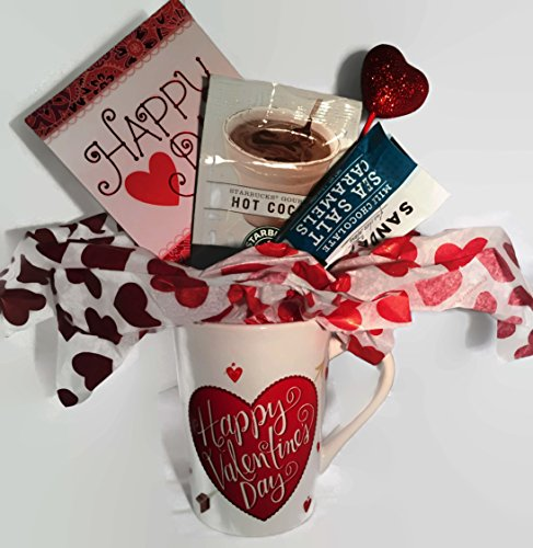 Starbucks Valentine's Day Hot Cocoa Gift Set includes Valentine Mug, Starbucks Cocoa Mix, Sanders Sea Salt Milk Chocolates complete with a Valentine's Day Card - 4 piece bundle