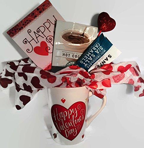 Starbucks Valentine's Day Hot Cocoa Gift Set includes Valentine Mug, Starbucks Cocoa Mix, Sanders Sea Salt Milk Chocolates complete with a Valentine's Day Card - 4 piece bundle