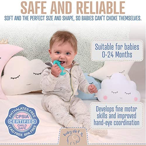 51XTn%2BnVr6L. AC - Baby Teething Toys - BPA Free Silicone Toy - Cute, Easy To Hold, Soft And Highly Effective Elephant Teether - Unique Teethers Best For 0-6 6-12 Months Boy Or Girl Christmas Gifts Stocking Stuffers