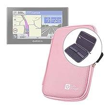 "Pink 7"" Shock-Absorbing Hard EVA Shell Case for Garmin Nuvi 2789LMT / Garmin RV 760LMT / Garmin Dezl 770 LMT-D Satnav - With Internal Elasticated Velcro Strap & Netted Accessory Pocket - by DURAGADGET"