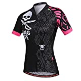 Uriah Women's Cycling Jersey Short Sleeve Reflective With Rear Zippered Bag Skull Pink Size M