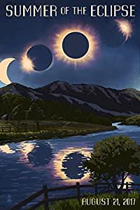 Solar Eclipse 2017 - Summer of the Eclipse (16x24 Giclee Gallery Print, Wall Decor Travel Poster)