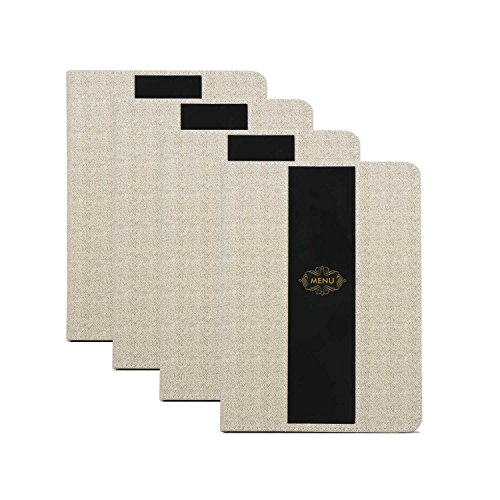 Menu Covers, 4 Pack Segarty Leather Menu Holders with 8 Insert Pages, Double Views, Table Menu Cover for Restaurants, Diners, Cafes, Bistros, Drinks and Cafeterias, 8.5x12 Inch ()
